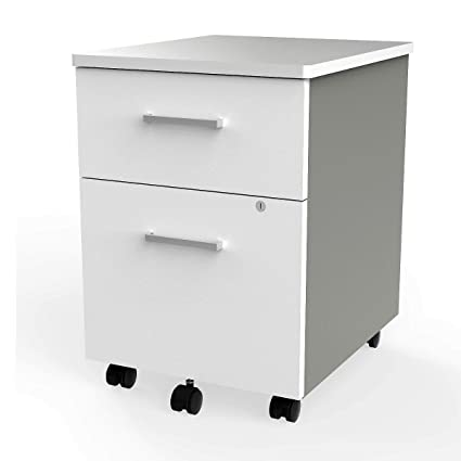 online store 4c890 c72de Linea Italia - locking 2 Drawer Metal File Pedestal, White, Office File  Cabinet on Wheels, Under Desk 24