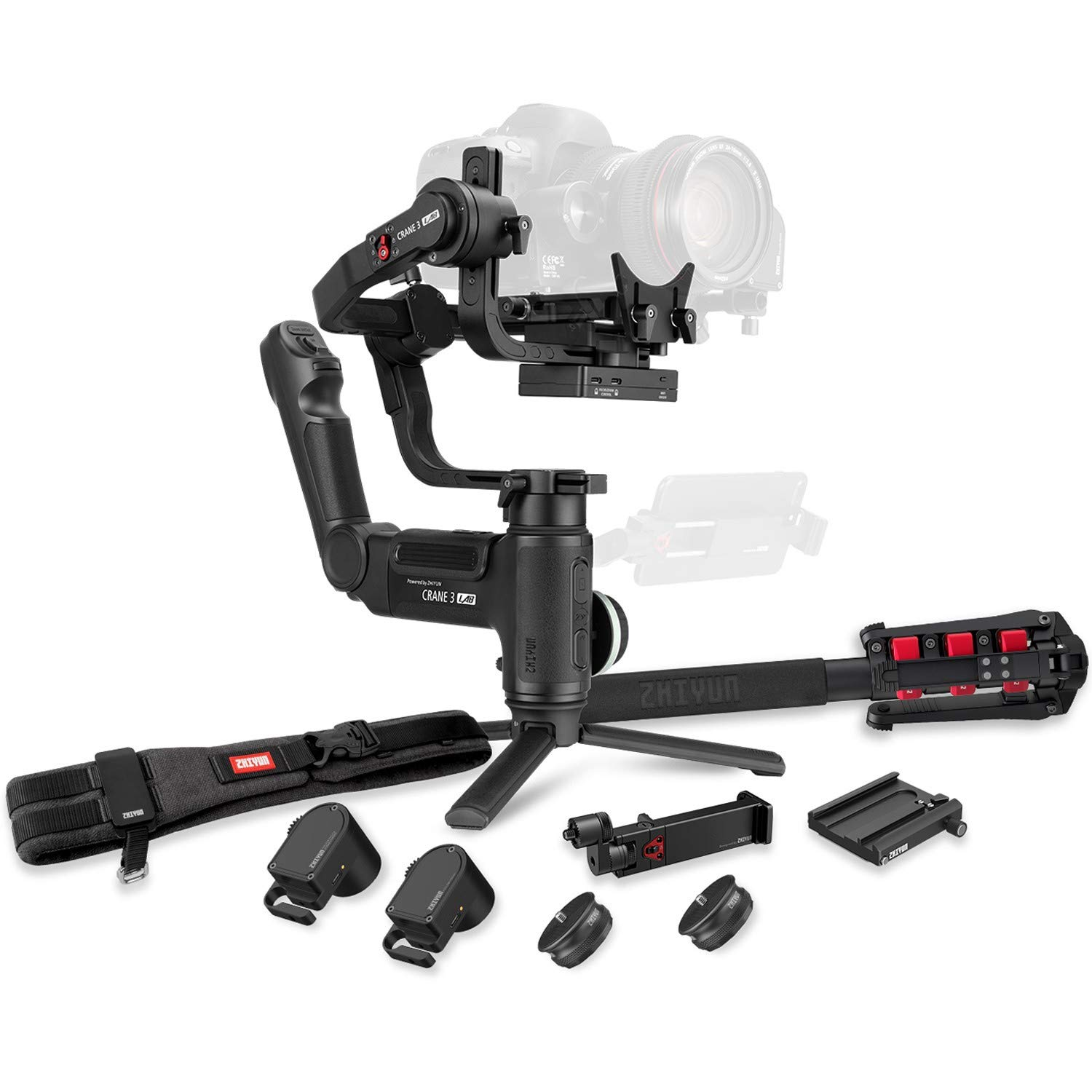Zhiyun Crane 3 LAB 3-axis Handheld Gimbal Stabilizer for DSLR/Mirrorless Camera Sony Canon Panasonic Nikon(Creator Package - with Phone Holder,Zoom/Focus Motor, Camera Belt, Quick Setup kit, monopod)