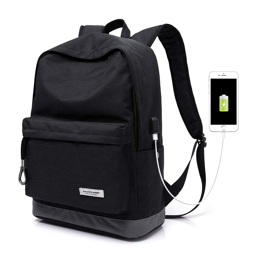 KAKA Street Casual Travel Latpot Backpack,Stylish Classic Backpack With USB Interface, College High School Student Backpack For Boys,Girls,Teens,Women And Men(2199 BLACK)
