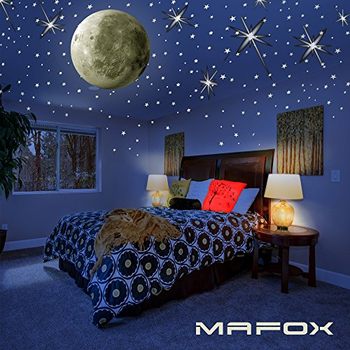MAFOX Glow in The Dark Wall or Ceiling Stars with Moon Stickers – Luminous Decal Stickers for Simulated Moon Effect at Night – Ideal Kids Decor or Adults – Perfect Gift Kids Boys Girls by MAFOX