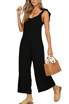 cc38b710df1 Amazon.com  Women Spaghetti Jumpsuits Casual V Neck Solid Wide Pants Rompers   Clothing