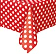 Unique Party - 50262 - Nappe - Plastique à Pois - Rouge - 2,74 x 1,37 m