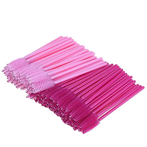 Disposable Eyelash Mascara Brushes Makeup Applicators Brush Kit (Rose and Pink, 100 Pieces)