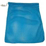SGT KNOTS Mesh Bag (Medium) 550 Paracord Drawstring Bag - Ventilated Washable Reusable Stuff Sack for Laundry, Swimming, Camping, Diving, Travel (24 inch x 36 inch w/Shoulder Strap - Sky Blue)