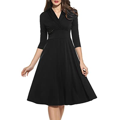 88010d1ba ACEVOG Women's 1950s Casual V Neck 3/4 Sleeve Pleated Cocktail Swing Dress