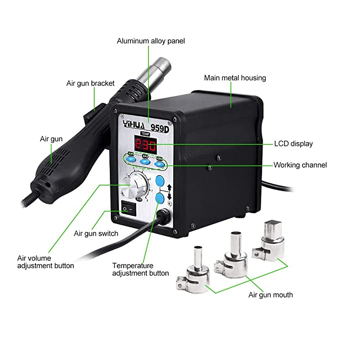 Yihua estacion de soldadura digital SMD con Pistola de Aire Caliente 959D: Amazon.es: Coche y moto