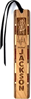 product image for Personalized Michael Jackson Photo with Signature, Engraved Wooden Bookmark with Suede Tassel