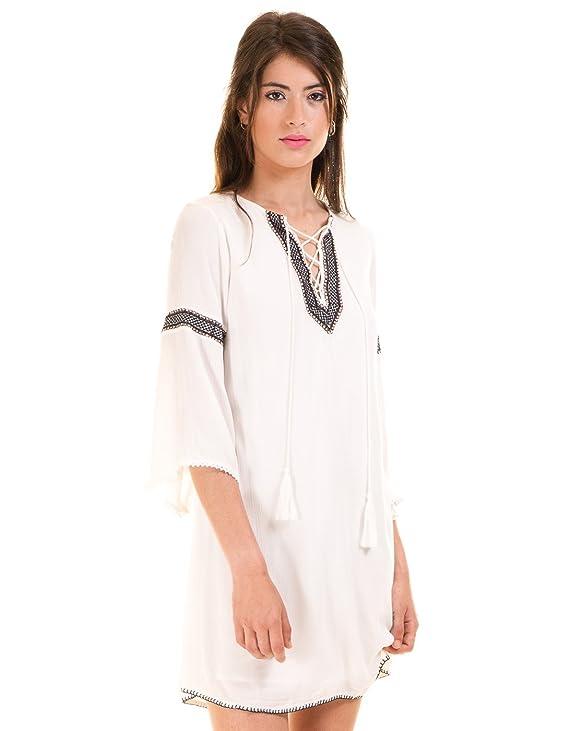 Vila Vestido Blanco ibicenco túnica Clothes (L - Blanco): Amazon ...