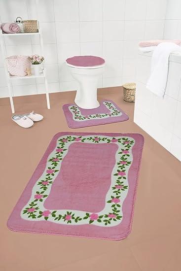 Badgarnitur 3-teilig Badezimmergarnitur Badteppich Vorleger WC ...