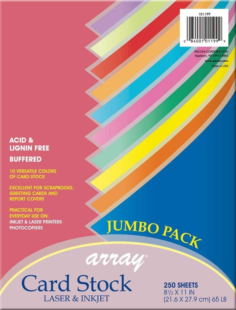 """Pacon Card Stock, Colorful Jumbo Assortment, 10 Colors,8-1/2"""" x 11"""", 250 Sheets"""