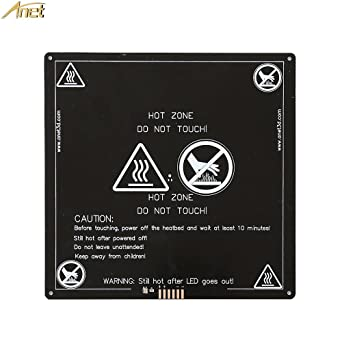 Anet RepRap i3 3D Printer Aluminum MK2 MK3 Heated Bed 12V, Updated Version of MK2B & MK2A - Hot Bed for Anet A8 A6 A2, Black 220x220x3mm
