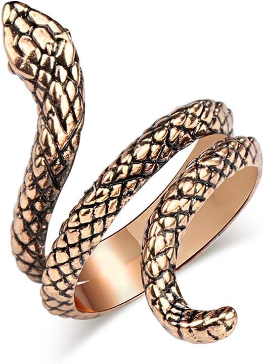 tamaño de Reino Unido R Gótico Punk Estilo Anillo de serpiente en espiral de color oro