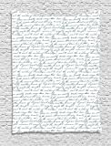 asddcdfdd Antique Tapestry, European Style Writing Lettering with Ink Feather Pen Old Antique Design Print, Wall Hanging for Bedroom Living Room Dorm, 60 W X 80 L Inches, Green White