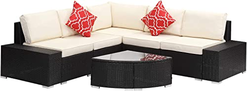 Outdoor Wicker Patio Furniture Sets 6 pcs Sectional Cushioned PE Rattan Conversation Sofa Dark Coffe Black