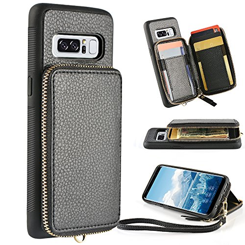 ZVE Case for Samsung Galaxy Note 8, 6.3 inch, Leather Wallet Case with Credit Card Holder Slot Zipper Wallet Pocket Purse Handbag Wrist Strap Protective Cover for Samsung Galaxy Note 8 - Black