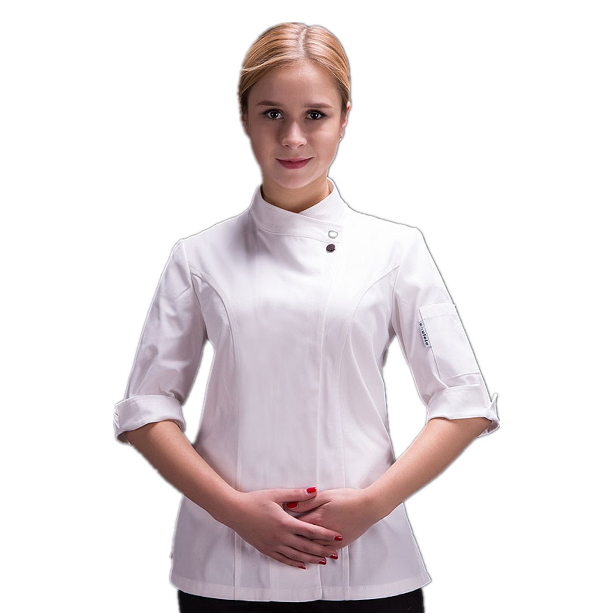 Women's Chef-Coat 3/4 Sleeve Hidden Buttons Chef Works Summer Restaurant Kitchen Chef Jacket