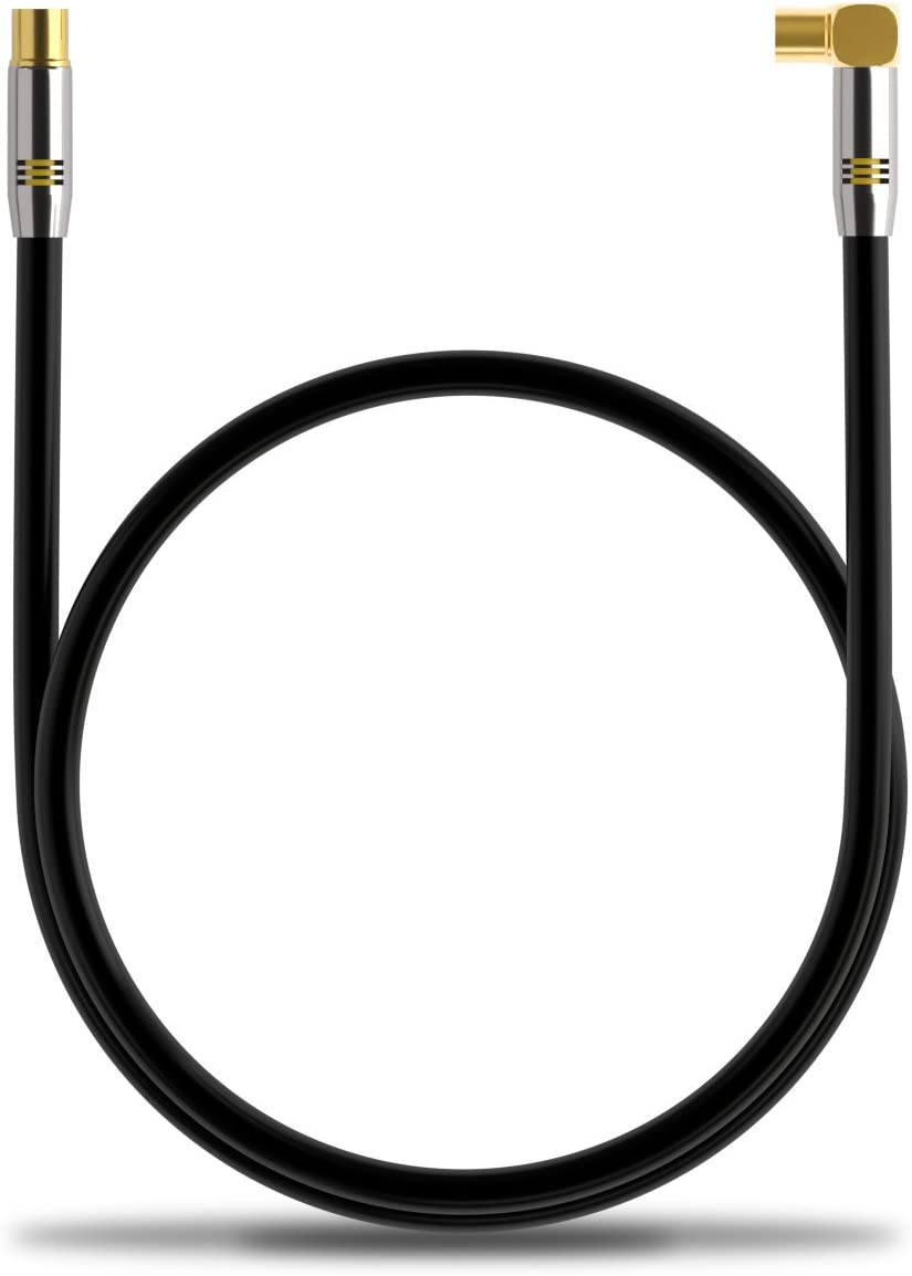 49.22 ft. deleyCON TV Antenna Cable 15m Coaxial Cable Gold-plated connector 1x 90/° angle 1x straight Metal Connector UltraHD FullHD HDTV Black
