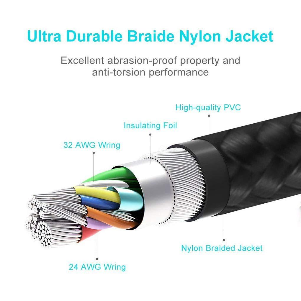 8Pin T/él/éphone C/âble de Tension LED Courant /écran USB Sync Cordon de Charge en Nylon tress/é de Fil # 3 Lidahaotin 1m Type c//Micro USB