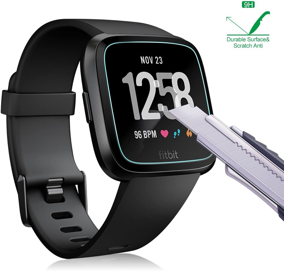 3-Pack AWINNER Glass for Fitbit Versa,Screen Protector Ultra-Clear Tempered-Glass for Fitbit Versa Smartwatch