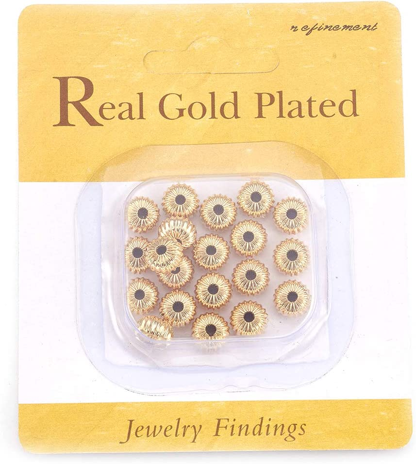 Craftdady 50pcs Electroplated Brass 18K Gold Plated Flat Round Beads 10mm Nickel Free for Jewelry Making Hole:1.4mm