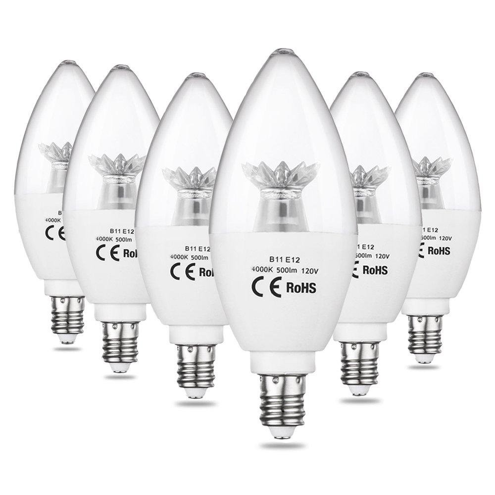 CPLA LED Candelabra Bulbs Decorative Candle Light Bulbs Pack of 6 Torpedo Shape B11 50W Equivalent 4000K Natural White LED Light Bulbs with Medium Screw Base E26