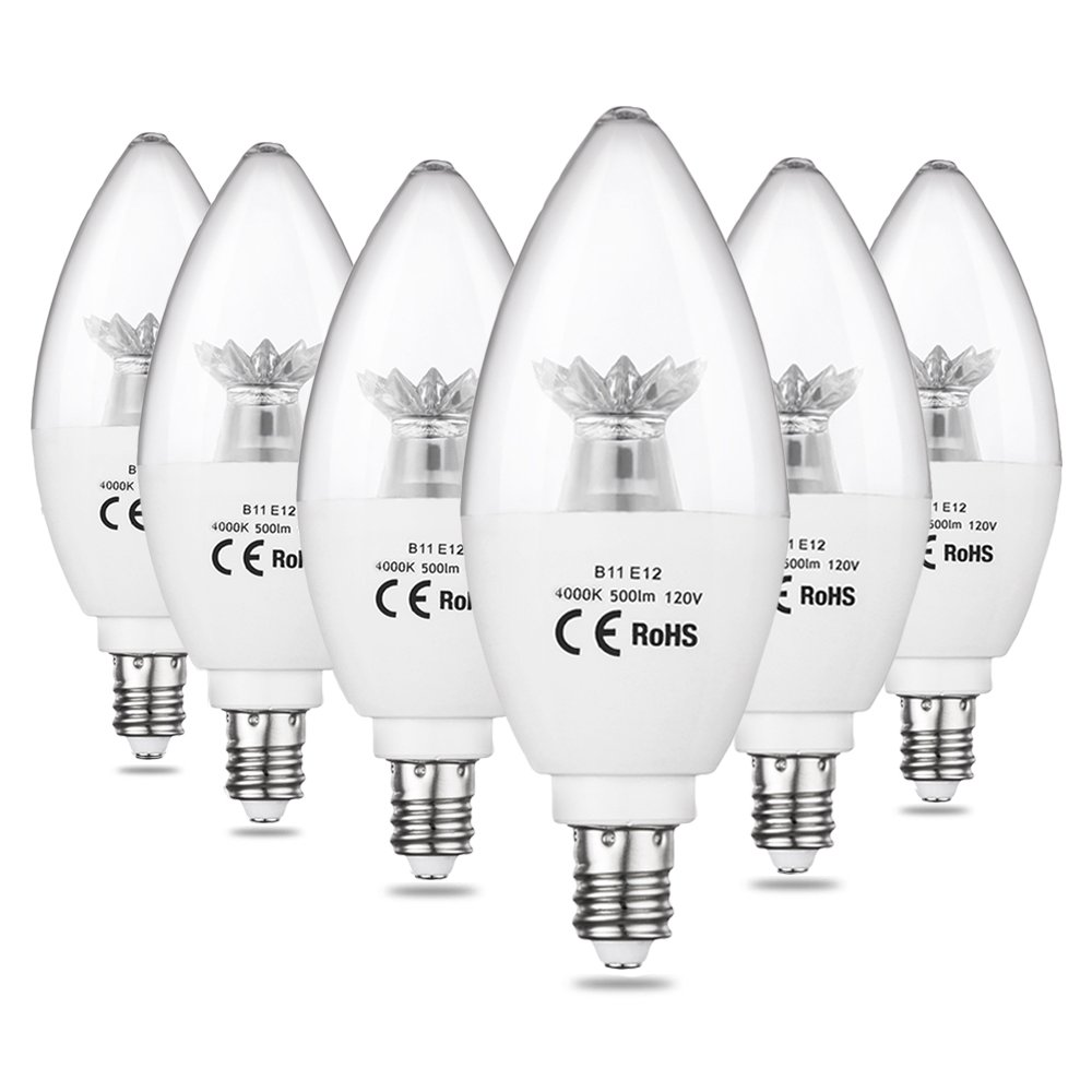 CPLA LED Candle Light Bulbs, 60W Incandescent Light Bulbs Equivalent, 4000K Daylight LED Chandelier Light Bulb with Candelabra E12 Base, Non-Dimmable, Pack of 6
