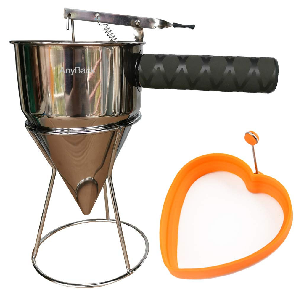 Pancake Batter Dispenser Mixer Stainless Steel with Squeeze Black Cover Handle, Steel Pancake Batter Dispenser Funnels with Stand and Silicone Mold AnyBack Orange Heart by AnyBack