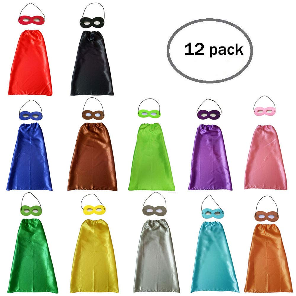 YIISUN Childs Cape Kids Capes and Masks Birthday Party Dress up (12 Pack)