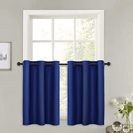 PONY DANCE Short Window Curtains - (42 by 36 inches, Navy Blue, Sold as 2  PCs) Kitchen Valances Thermal Insulated Grommet Top Panels Modern Design ...