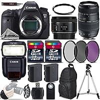 Canon EOS 6D DSLR Camera + 50mm 1.8 STM Lens + 70-300 Di LD Macro Lens + Canon Speedlite 430EX III RT + 64GB Storage + Backup Battery + UV-CPL-FLD Filters + UV Filter - International Version