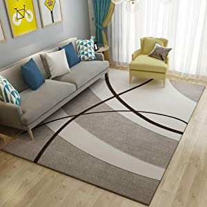 TriGold Modern Abstract Geometric Art Area Rugs Not-Slip Soft Velvet Indoor Carpet Rectangular Throw Rugs Decorative Living Room Bedroom-f 140x200cm(55x79inch)