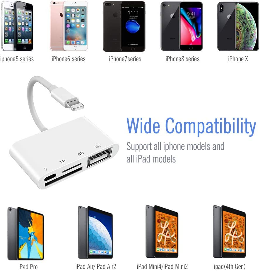 Power Delivery Compatible with iPhone Xs Max//Xs//XR//X//8//7//6s//6 4 in 1 USB OTG Camera Connection Kit with Camera Memory Reader SD Card Reader for iPhone iPad SD /&TF Dual Slot Card