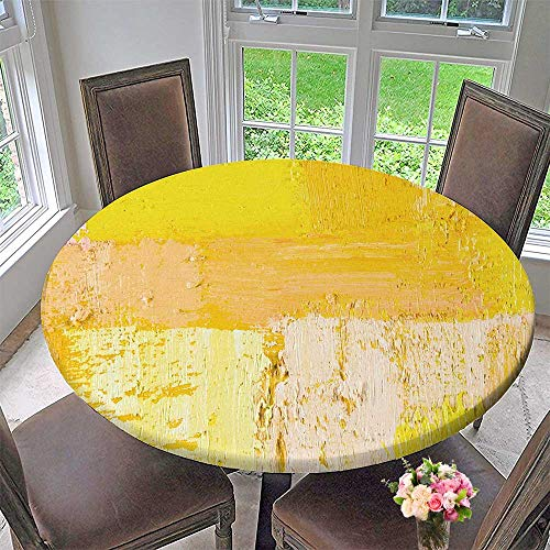 PINAFORE HOME Round Premium Table Cloth Wallpaper Texture Background n Original Oil Yellow and Beige Perfect for Indoor, Outdoor 35.5