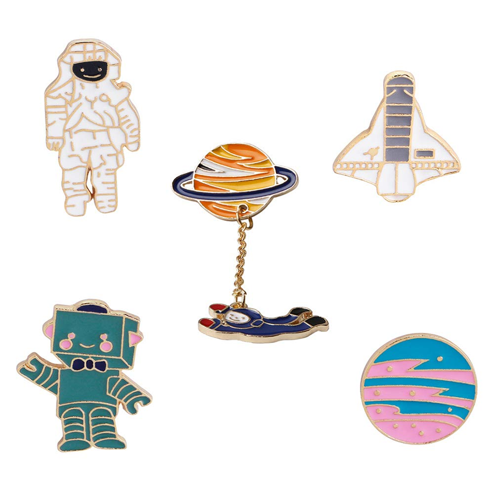 16e761a28 Amazon.com: Cute Enamel Lapel Pins Sets Cartoon Animal Plant Fruits Foods Brooches  Pin Badges for Clothing Bags Backpacks Jackets Hat DIY (Astronaut Robot ...