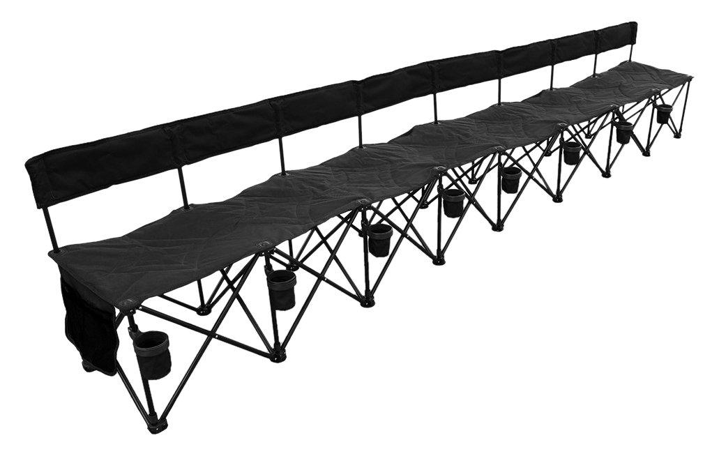 GoTeam! Pro 8 Seat Portable Folding Team Bench - Black Vandue GOTEAMBENCH8PRO-BLACK