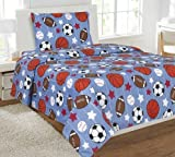 Liquidator Collections Multicolor Blue White Orange Brown Sports Basketball Football Baseball Soccer 3 Piece Printed Twin Sheet Set with Pillowcase Flat Fitted Sheet for Boys/Kids/Teens # Game Day