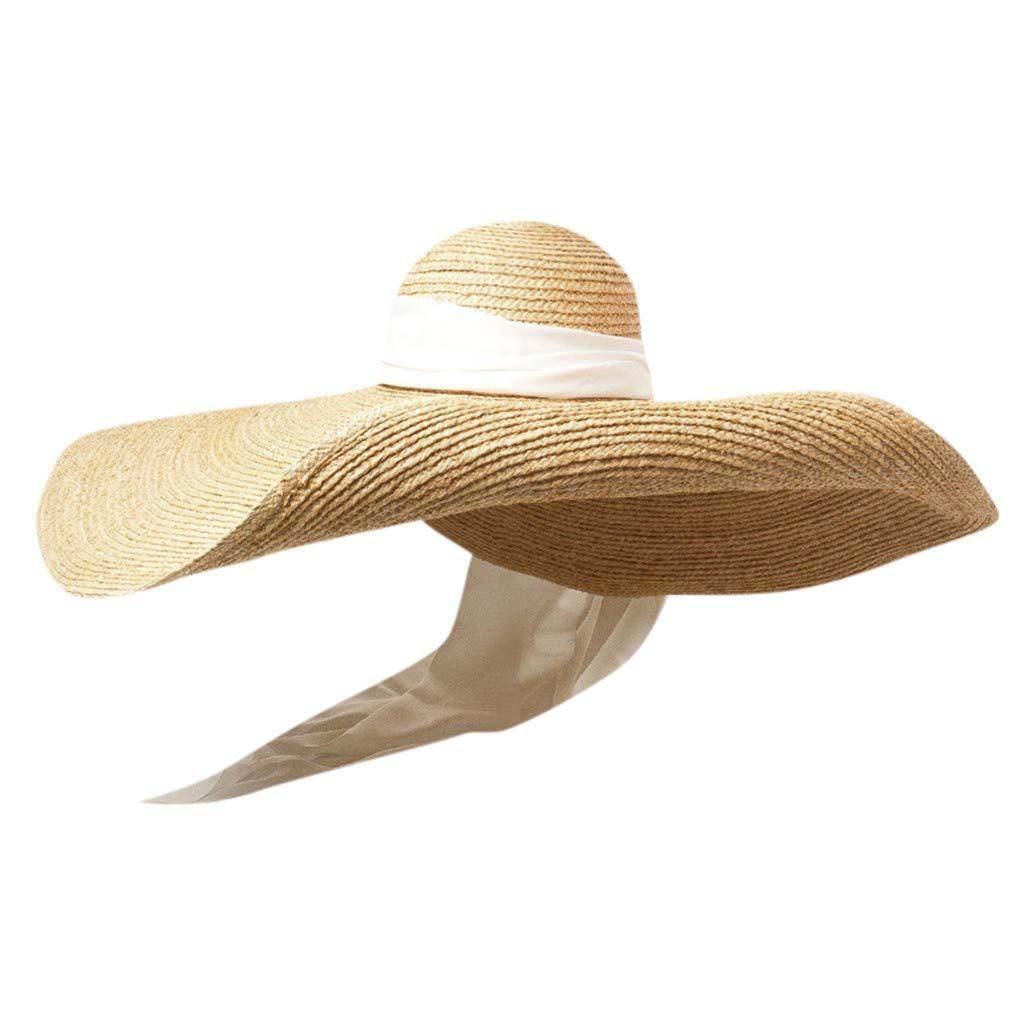 telaite Womens Visor Hat, Summer Wide Brim Large Sun Cap Foldable Anti-UV Cap Bow Decoration(White)