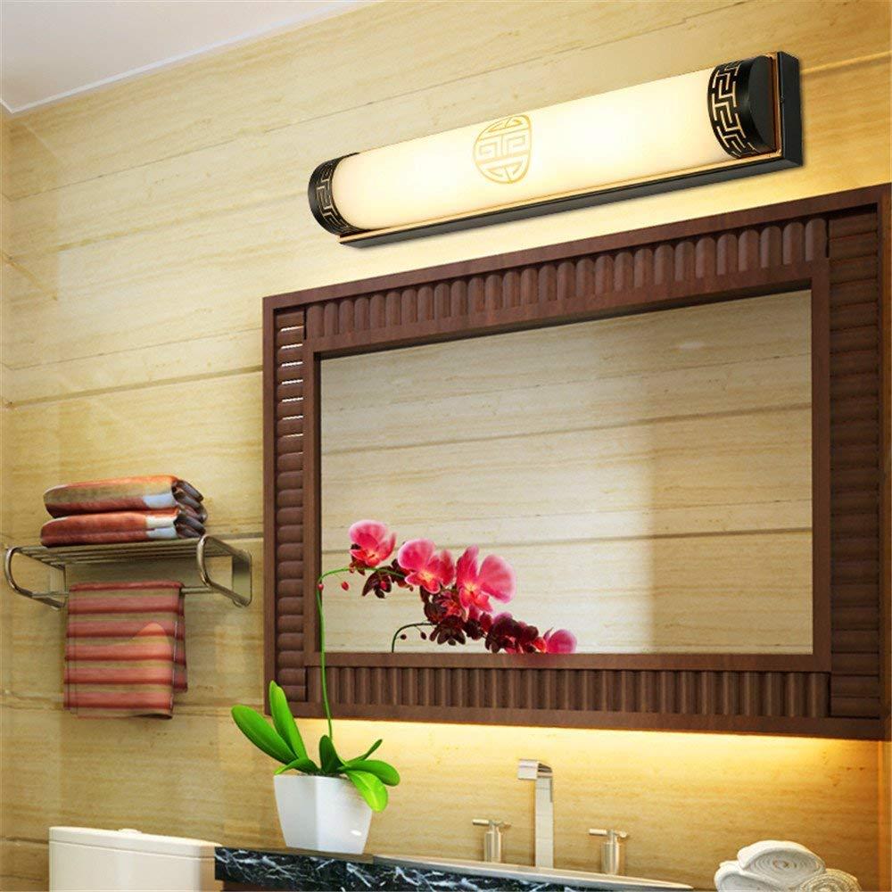Amadoierly Neue Chinesische Spiegel Scheinwerfer Vintage Europäischen Spiegel Badezimmer Wandleuchte Bad Gespiegelte Schrank Chinesische Lampen Led Make-Up Lampe Schwarz, 50 cm, 14 Watt