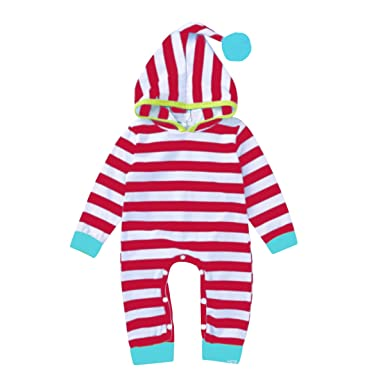 b7087fdee07e Amazon.com  vanberfia Baby Striped Hooded Pocket Jumpsuit  Clothing