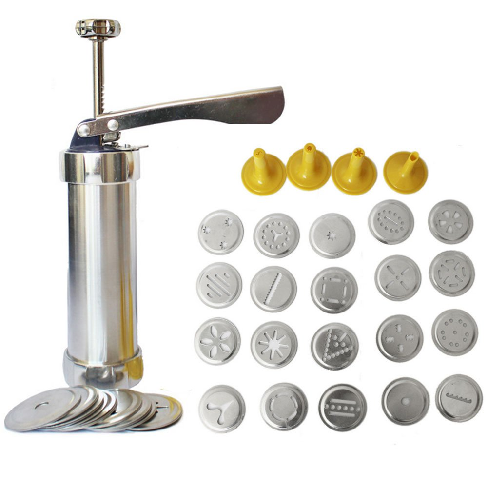 Get it Before XMAS FANYI Stainless Steel Biscuit Cookie Making Maker Pump Press Machine Cake Decor 20 Moulds+ 4 Nozzles Cookie Tools moulds