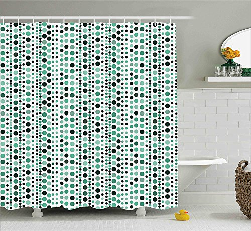 (Modern Shower Curtain, Retro 60s 70s Vintage Geometrical Circles Dots Points Ombre Image, Fabric Bathroom Decor Set with Hooks, 60 W x 72 L inches, Teal Turquoise Hunter Green )