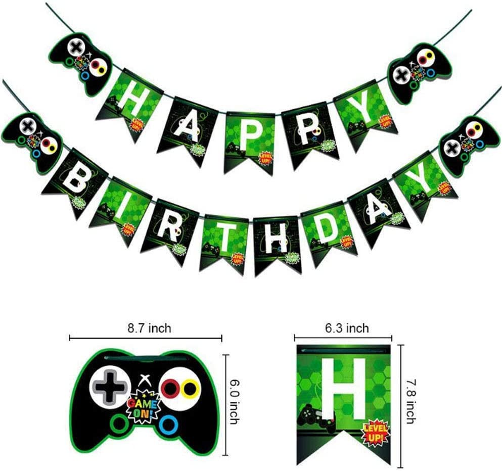 Reusable Party Supplies Decorations A Game Birthday Banner Gaming Party Decoration Boys Birthday Party Banners Green