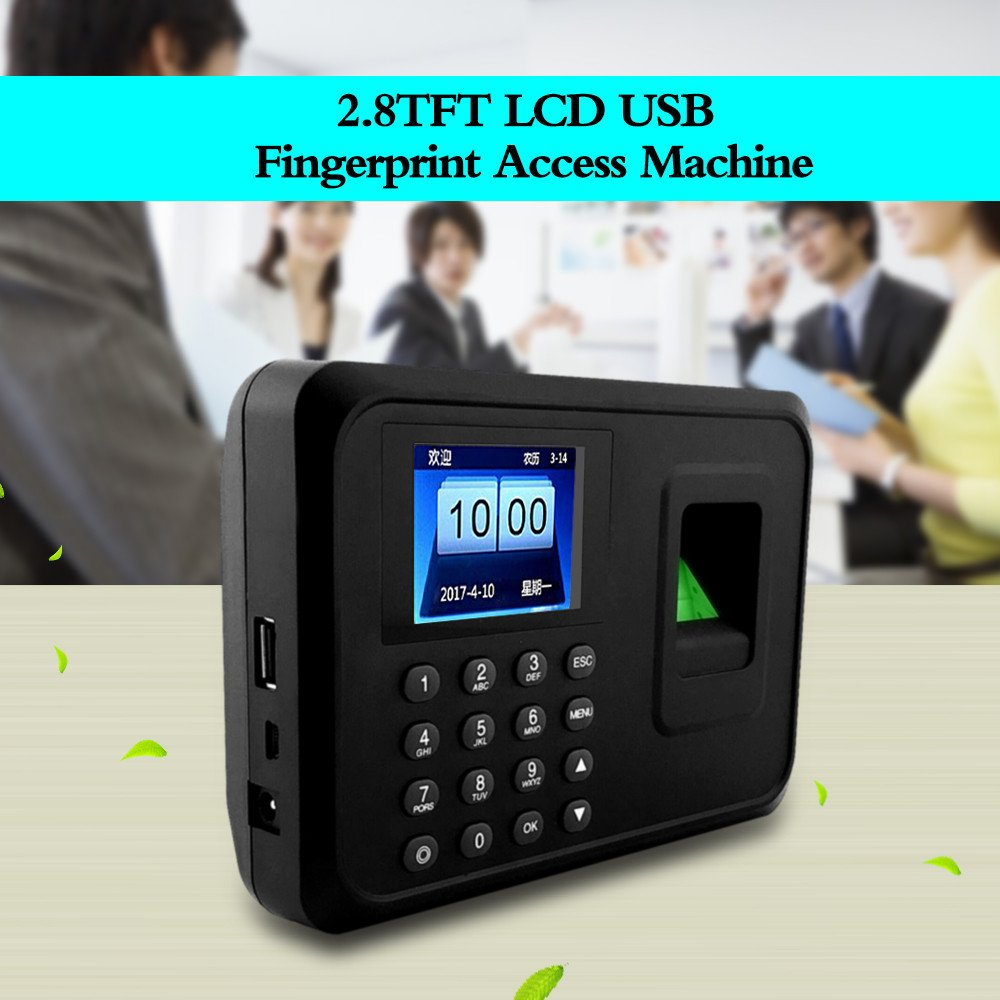 OBO HANDS Fingerprint Attendance Machine LCD Display USB Biometric DC 5V//1A Time Clock Recorder Employee Checking-in Reader A6