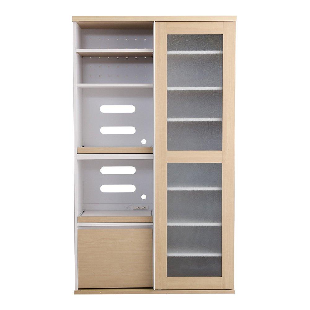 シンプルでおしゃれな食器棚 幅105cm×高さ180㎝ オーク ワイド ハイタイプ ガラス引き戸 キッチン 収納 棚 キッチンラック 強化ガラス 一人暮らし 台所 ハイタイプ オーク B07FQT1RM3
