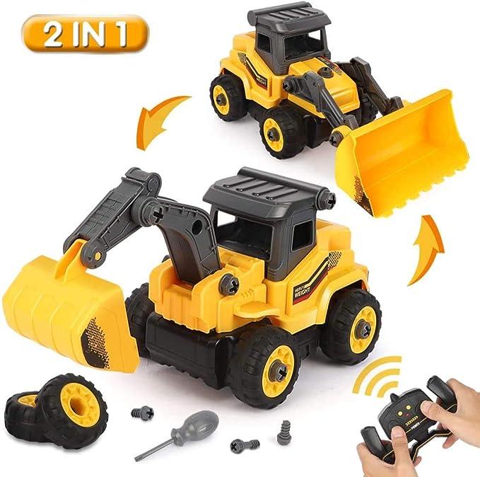BeebeeRun 2-IN-1 DIY Desmontar Juguetes Vehículo de Construcciones Juguete,Camión Excavadora y Topadora Regalo Educativo para Niños de 3 4 5 Años: Amazon.es: Juguetes y juegos