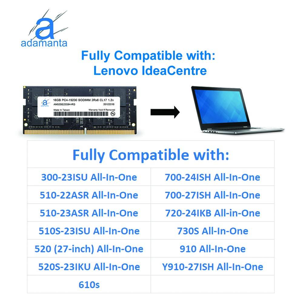 Adamanta 16GB (1x16GB) Laptop Memory Upgrade Compatible for Lenovo Flex, Legion, IdeaCentre, IdeaPad, ThinkCentre DDR4 2400Mhz PC4-19200 SODIMM 2Rx8 ...