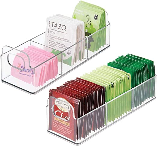 9 Long 2 Pack Countertop Organizer Storage Station Tea Caddy Holder Sweetener 9 Long MetroDecor mDesign Small Plastic Kitchen Pantry Individual Packet Condiments Holds Beverage and Tea Bags Cabinet Clear Individual Packet Condiments