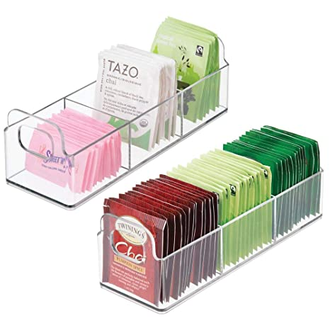 """M Design Plastic Kitchen Pantry, Medicine Cabinet, Countertop Organizer Storage Station Tea Caddy Holder   Holds Beverage And Tea Bags, Sweetener, Individual Packet Condiments   9"""" Long, 2 Pack   Clear by M Design"""