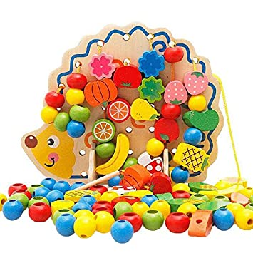 Amazon Com Early Learning Wooden Toys Hedgehog Fruit Beads Child
