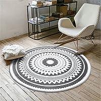 Modern Pad Area Rug Nordic Fashion Gray Round Carpet Living Room Coffee Table Large Carpet Bedroom Floor Mat Carpet Black Diameter 60CM